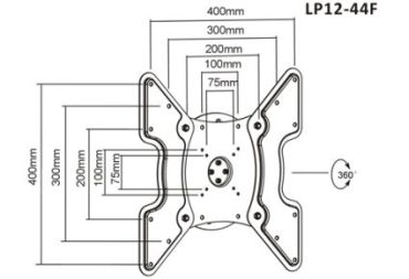 Крепление для телевизора настенное BRATECK LP12-44F BLACK